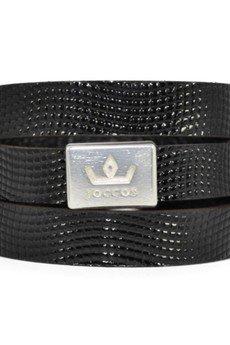 Bogota_faux_lizard_shiny_black_bracelet_1_silver