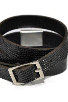 Bogota_faux_lizard_shiny_black_bracelet_2_silver